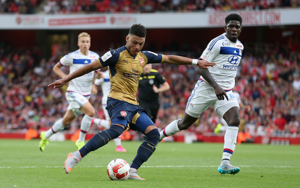 Alex Oxlade-Chamberlain scores Arsenal's second against Olympique Lyonnais (Source: David Rogers/Getty Images Europe)